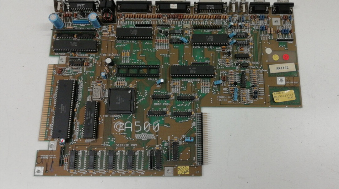 Commodore Amiga 500 A500 PCB circuito stampato scheda madre scheda base mainboard, Gary Paula Denise Fat Agnus A500, ROM CIA Motorola 68000