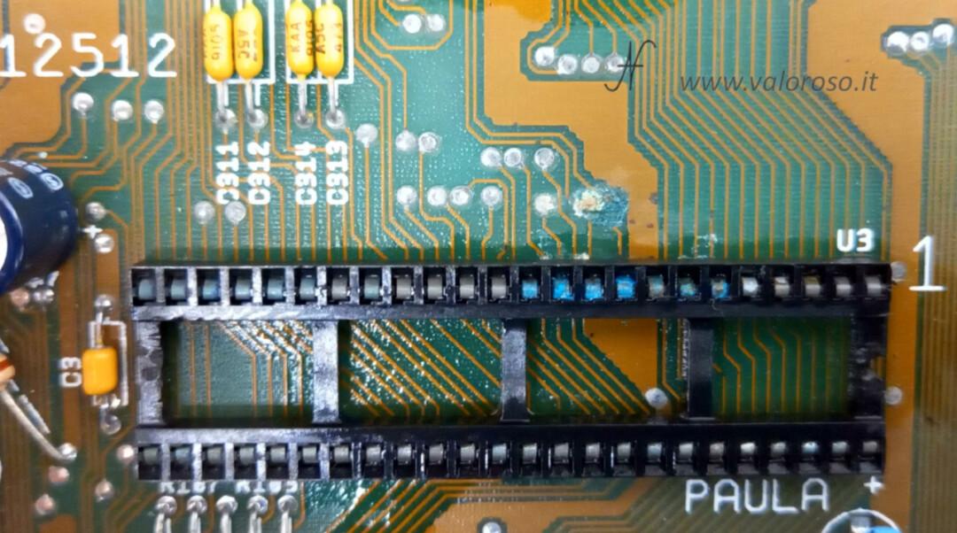 Commodore Amiga 500 A500 interno scheda elettronica scheda madre Paula piste interrotte corrose guaste CSG 8364R7 8364