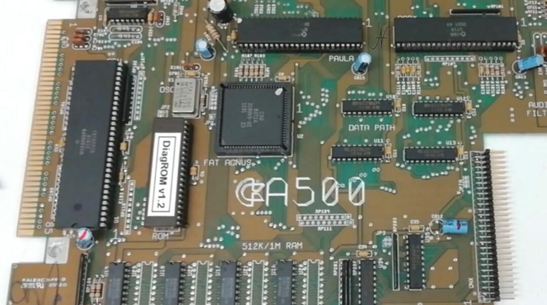 Commodore Amiga 500 DiagROM, test mounting next to U6 ROM CPU processor