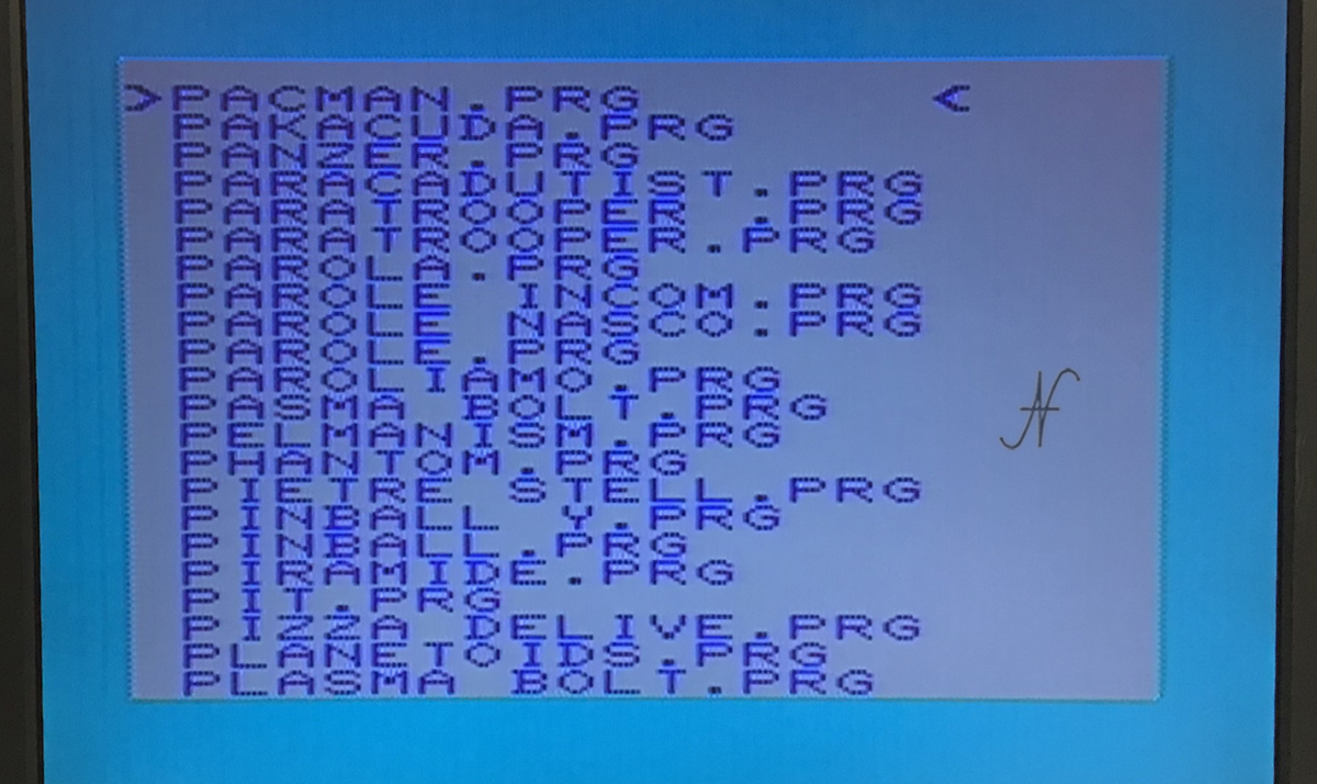 Commodore Vic-20, emulatore SD2IEC, lista videogiochi PRG, pacman