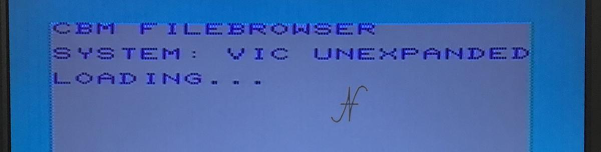 Commodore Vic20 unexpanded, emulatore SD2IEC, caricamento fb, file browser