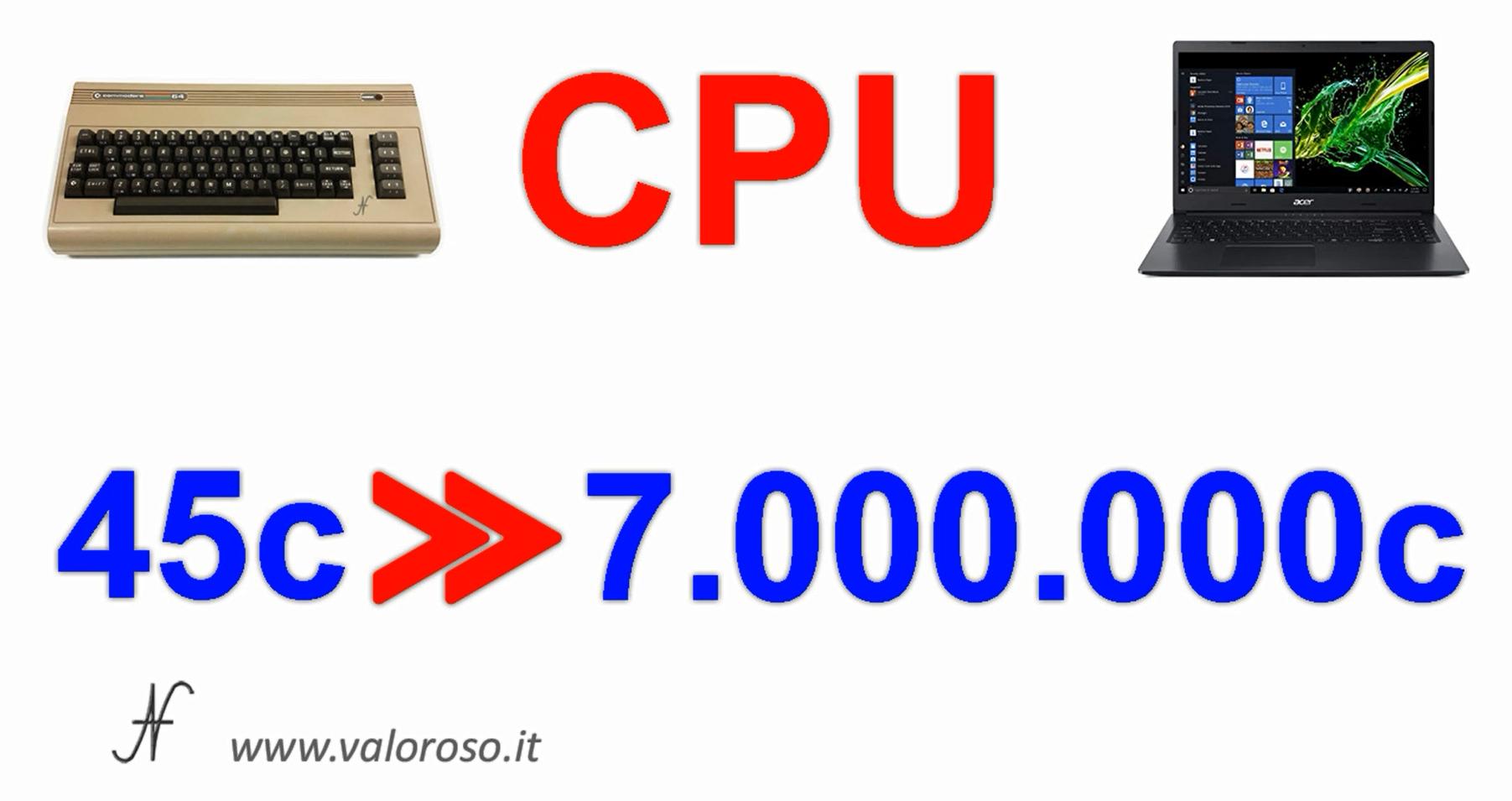 Commodore Vs PC moderno, confronto velocita cpu, paragone performance processore