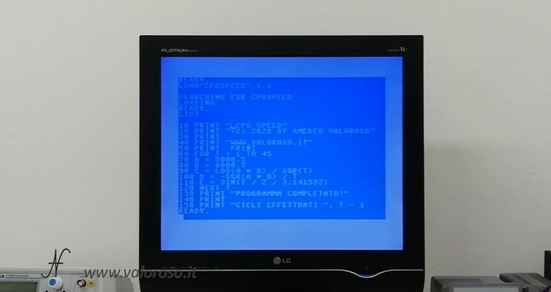 Commodore Vs PC moderno, software, programma misura velocità CPU, processore