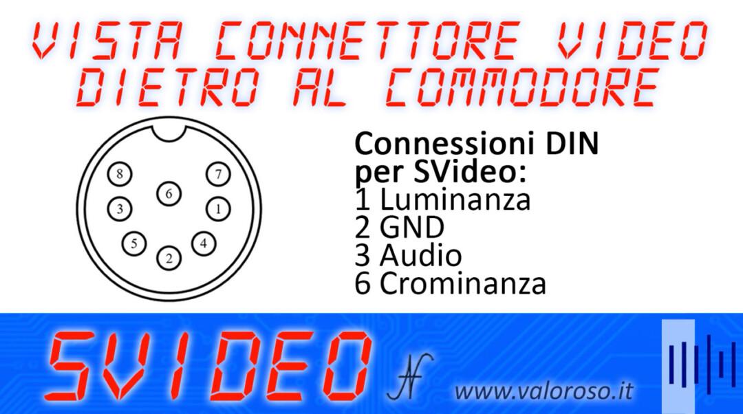 Connettore video dietro al Commodore 64 16 128 pinout schema connessioni collegamenti SVideo S-Video luminanza crominanza audio, luma chroma. Cavo S-Video per migliorare la qualità delle immagini del Commodore.