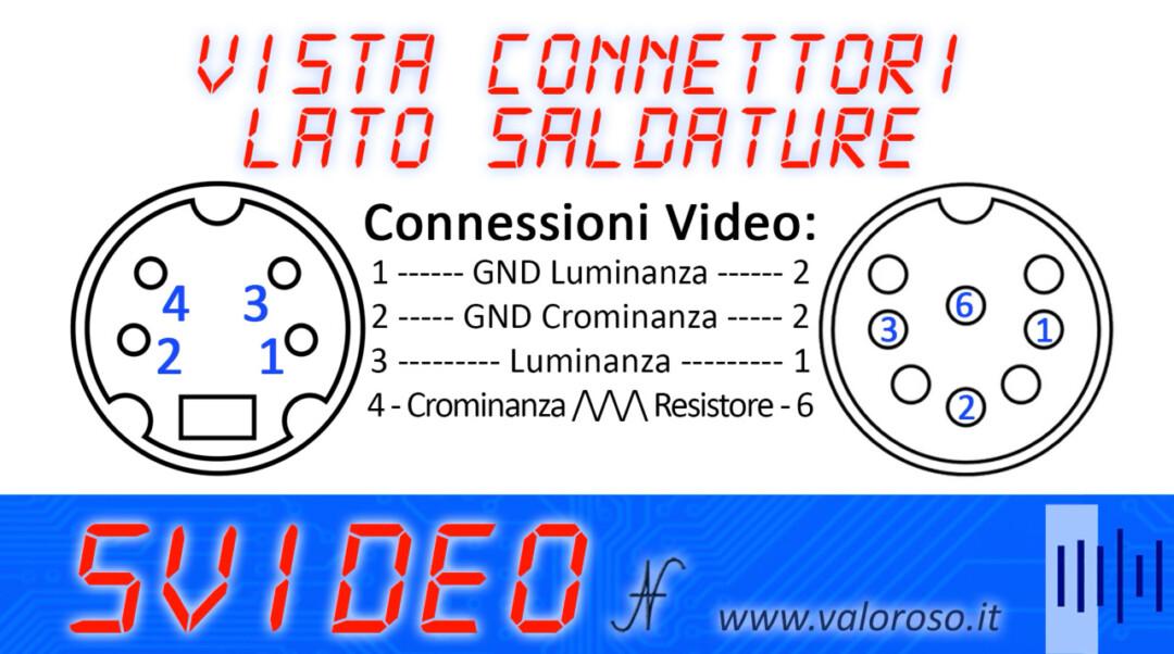 Connettore video dietro al Commodore 64 16 128 pinout schema connessioni collegamenti SVideo S-Video luminanza crominanza lato saldature, luma chroma Y V YUV. Cavo S-Video per migliorare la qualità delle immagini del Commodore.