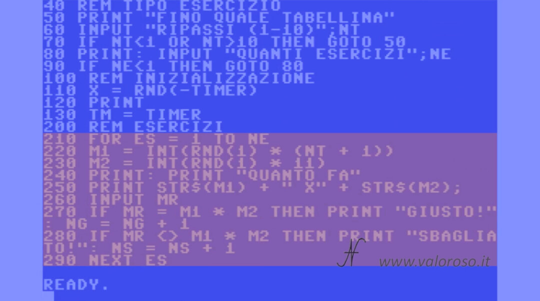 Video Corso Tutorial Istruzioni Basic Commodore 64 ciclo FOR NEXT