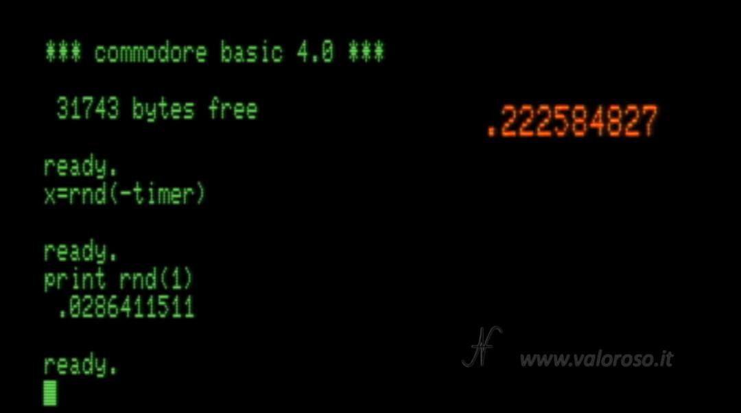 Commodore PET, RND inizializzare generatore numeri casuali