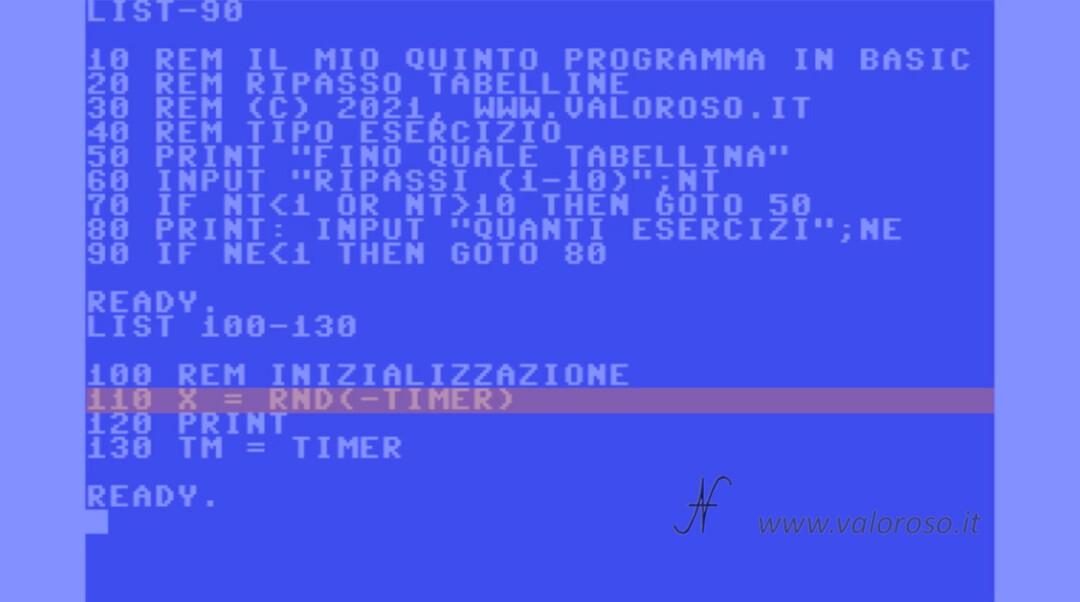 Corso per imparare a programmare in Basic Commodore RND inizializzare generatore numeri casuali, 16 64 128 C64 C16 Vic20 Vic-20 C128 Plus4