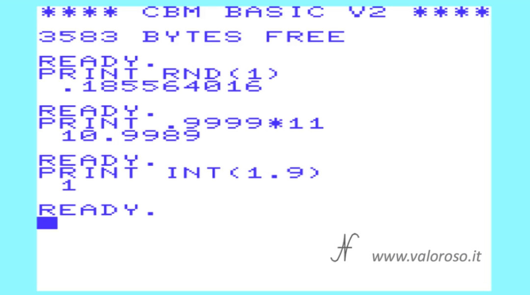 Tutorial Video Corso Basic Commodore Vic20, funzione INT RND numeri interi, 16 64 128 C64 C16 Vic20 Vic-20 C128 Plus4, PRG D64