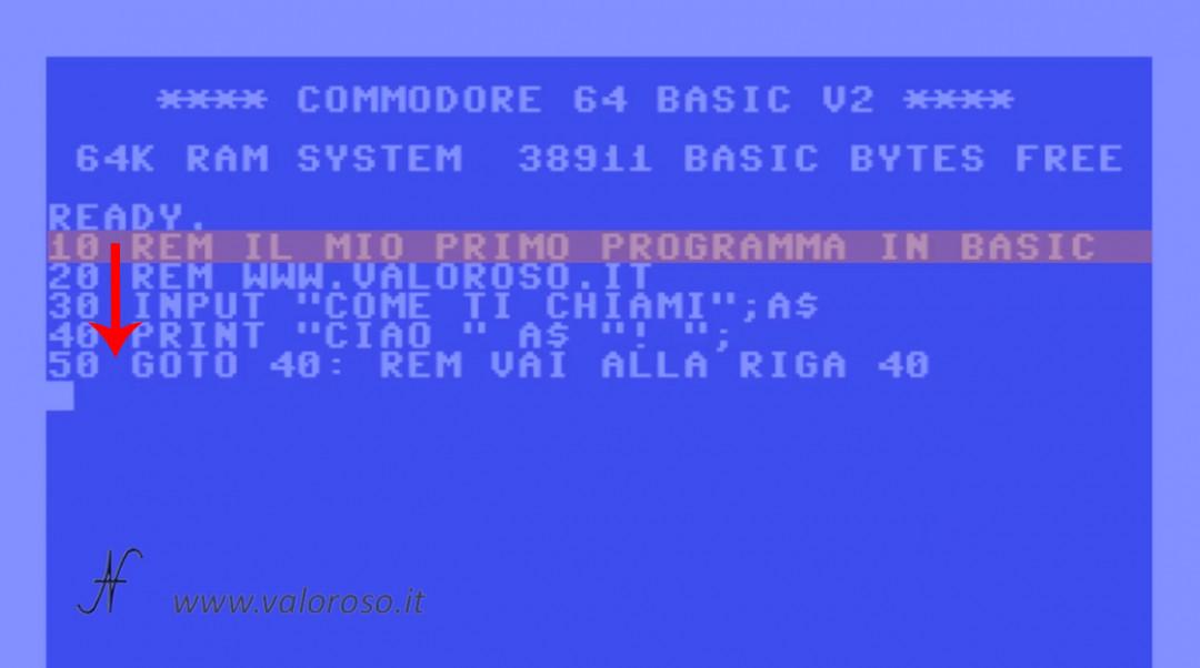 Esecuzione istruzioni comandi in sequenza, REM PRINT INPUT GOTO, Corso tutorial programmazione linguaggio Basic Commodore, Commodore 16, Commodore 64, Commodore 128, Commodore PET, Commodore Plus4, Commodore Vic20, C16 C128 C64, IBM DOS MicroSoft GWBASIC