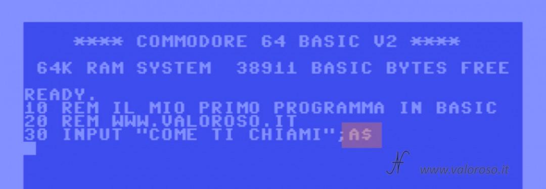 """Istruzione comando INPUT variabile stringa A$, dollaro, """"$"""", Corso tutorial programmazione linguaggio Basic Commodore, Commodore 16, Commodore 64, Commodore 128, Commodore PET, Commodore Plus4, Commodore Vic20, C16 C128 C64, IBM DOS MicroSoft GWBASIC, sequenza caratteri, massima lunghezza nome variabili"""