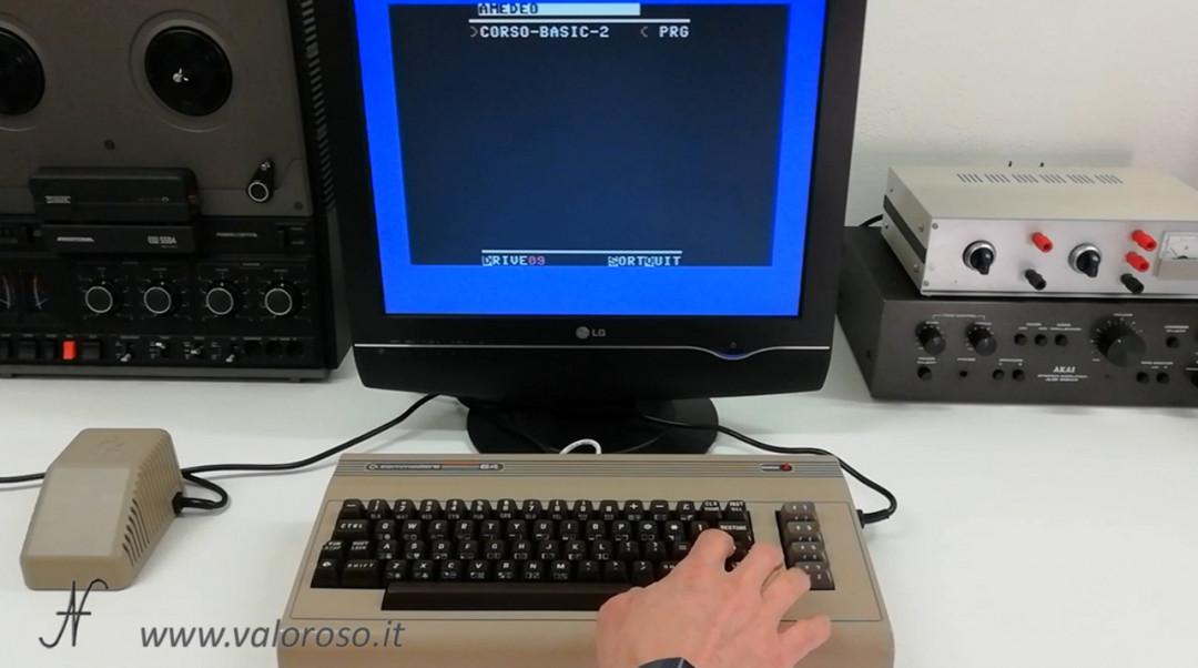 Corso programmazione Basic Commodore 2, caricare un file da SD2IEC file browser PRG D64 disco virtuale, immagine disco