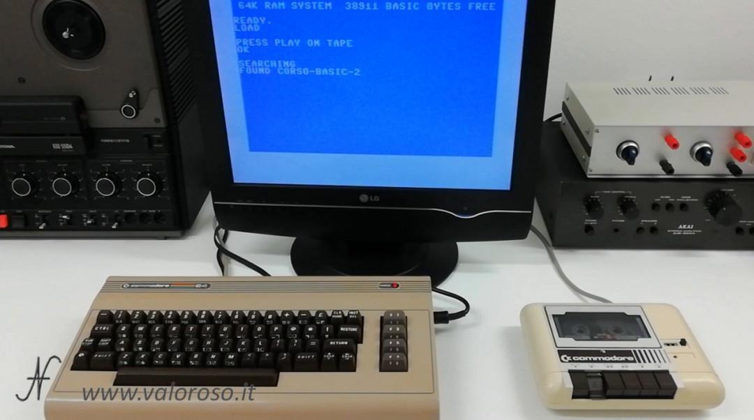 Corso programmazione Basic Commodore 2, caricare un file da tape datassette nastro 1531 1530, LOAD, Commodore+Run/Stop