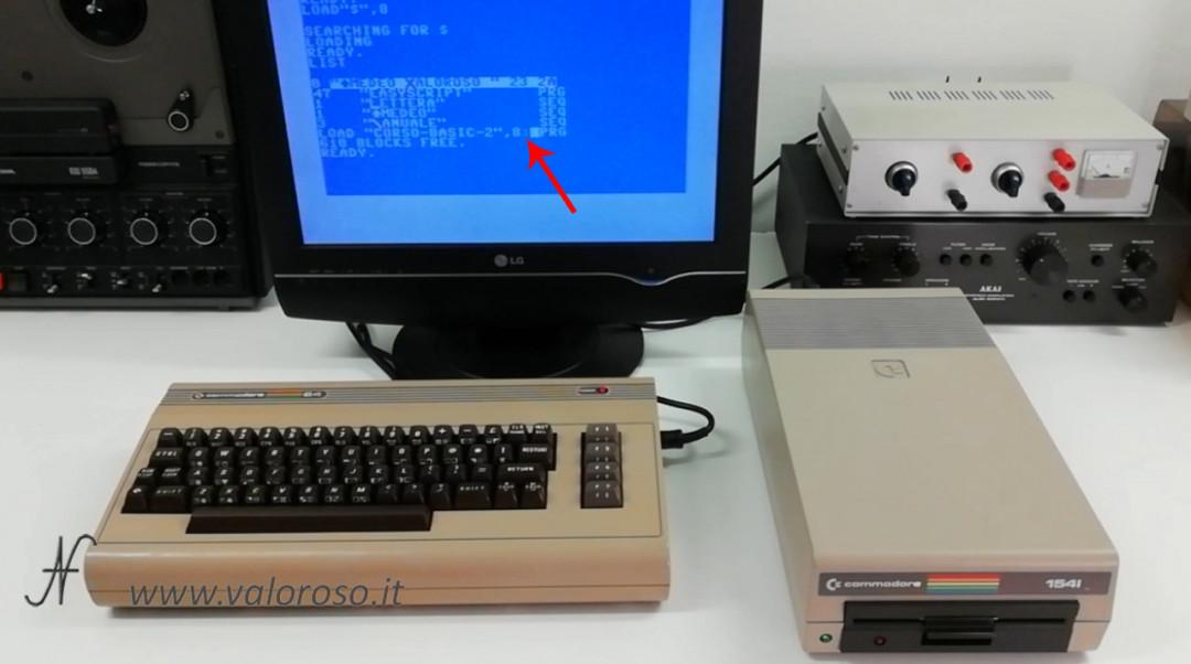Corso programmazione Basic Commodore 2, caricare un programma file da floppy disk drive 1541 II, due punti, PRG