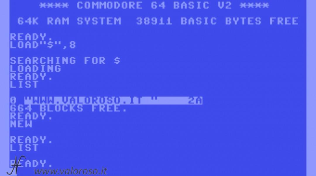 Corso programmazione Basic Commodore 2, comando NEW cancellare la memoria, lista vuota