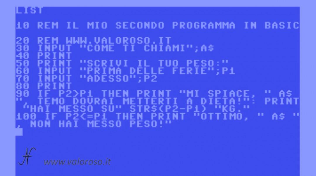Corso programmazione Basic Commodore 2, listato programma LIST righe, peso dopo le vacanze ferie