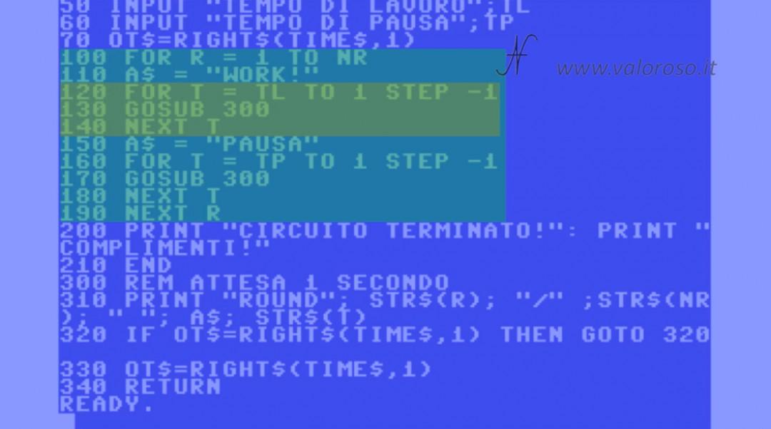 Tutorial di programmazione in Basic QB64 QuickBasic ciclo FOR NEXT STEP TO annidato
