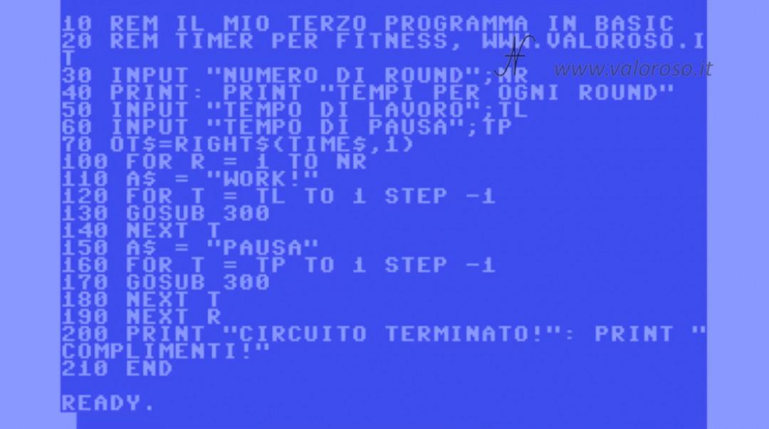 Corso programmazione Basic Commodore listato programma REM INPUT PRINT variabili, QB64