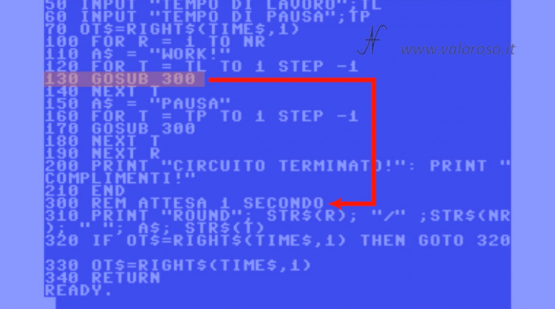 Tutorial di programmazione in Basic QB64 QuickBasic Commodore 3 salto GOSUB RETURN