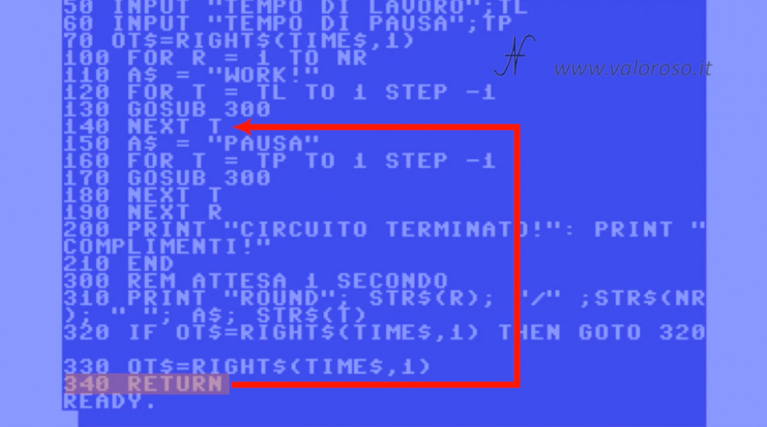 Tutorial di programmazione in Basic Commodore 3 salto GOSUB ritorno RETURN stack, QB64 QuickBasic