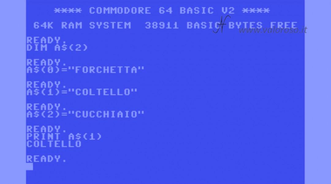 Corso programmazione Basic Commodore QB64 4, DIM array vettori