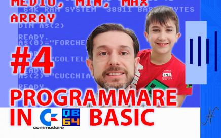 Videocorso sul linguaggio Basic Commodore QB64 4, DIM array vettori max min valore medio minimo massimo sequenza di numeri
