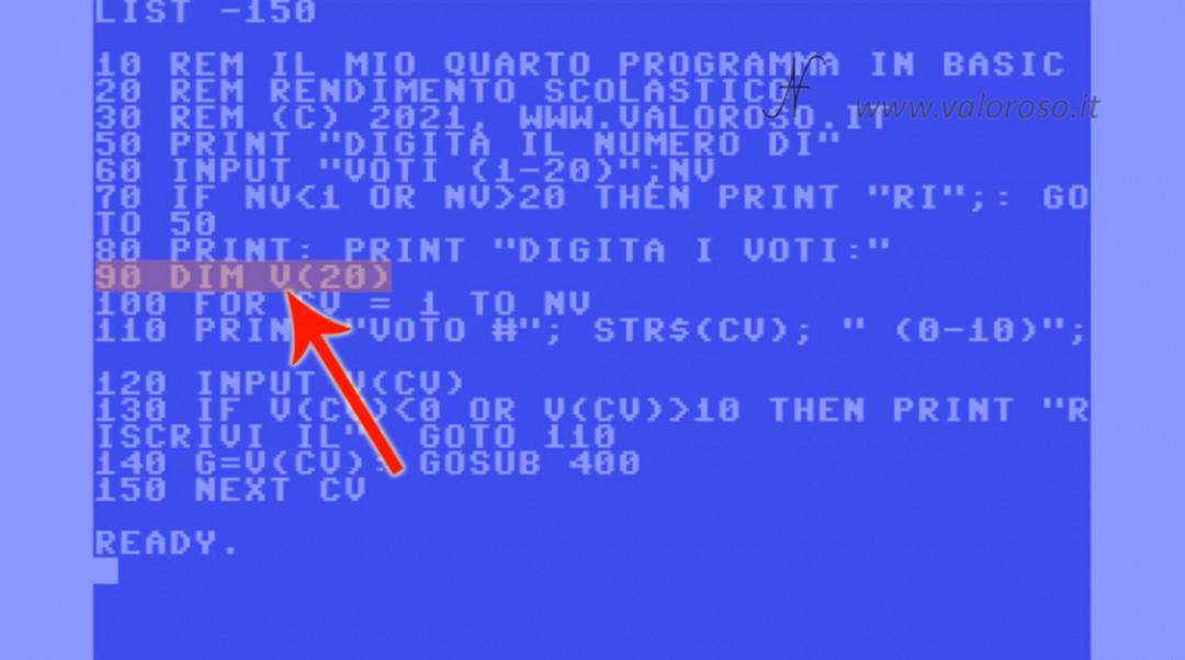 Videocorso sul linguaggio Basic Commodore QB64 4, DIM vettori array DIM V(20)