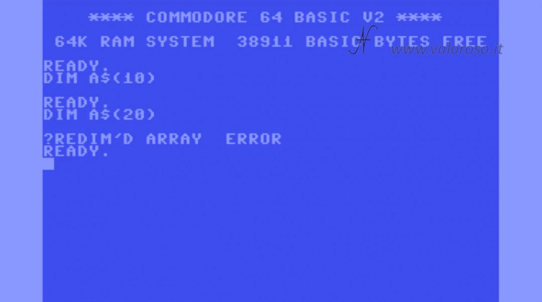 Corso programmazione Basic Commodore QB64 4, DIM vettori redim'd array error, REDIM ERASE