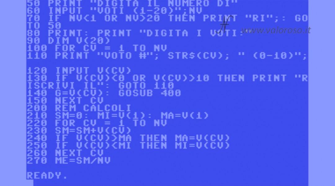 Tutorial programmazione Basic Commodore QB64 4, valore massimo max minimo min medio sequenza di numeri array vettori matrici, confronto