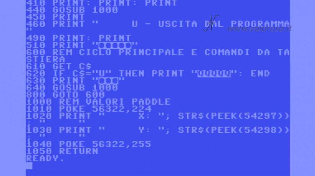 Costruire un Paddle per Arkanoid, Commodore 64, istruzioni Basic PEEK lettura valori analogici, peek(54297) peek(54298) poke, joystick port control