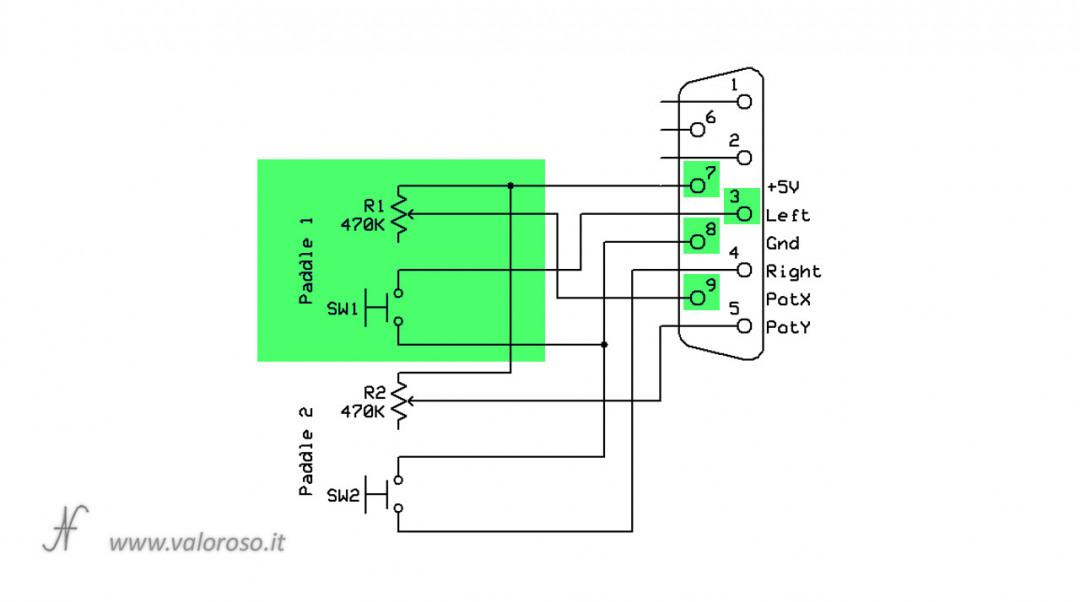 Costruire un Paddle per Arkanoid, Commodore 64, schema elettrico control port singolo paddle potenziometro switch, DIY, autocostruito, fai da te