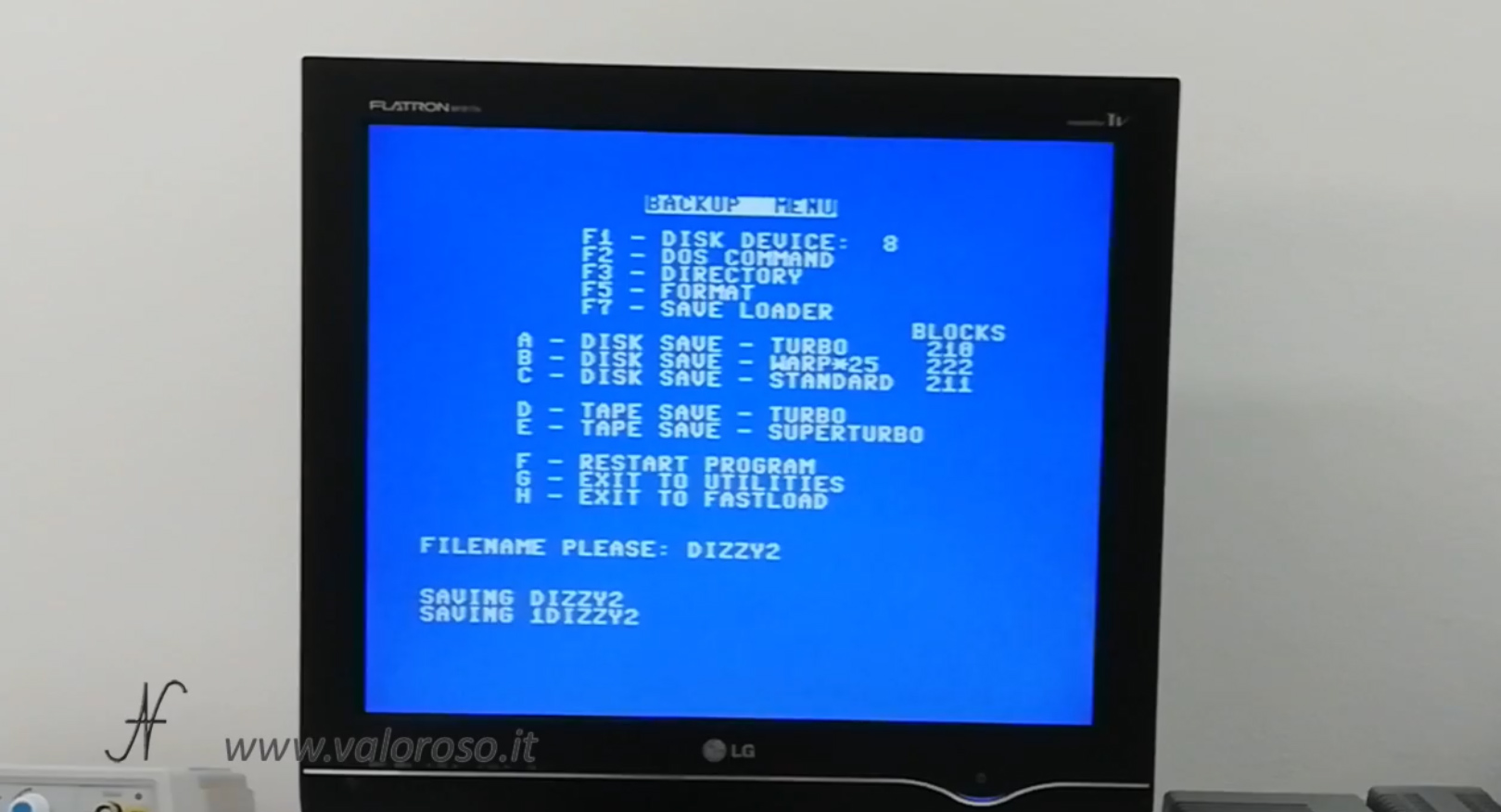 Datel Action Replay, Commodore 64, menu backup, disk save 1541, copia videogioco da cassetta a floppy disk