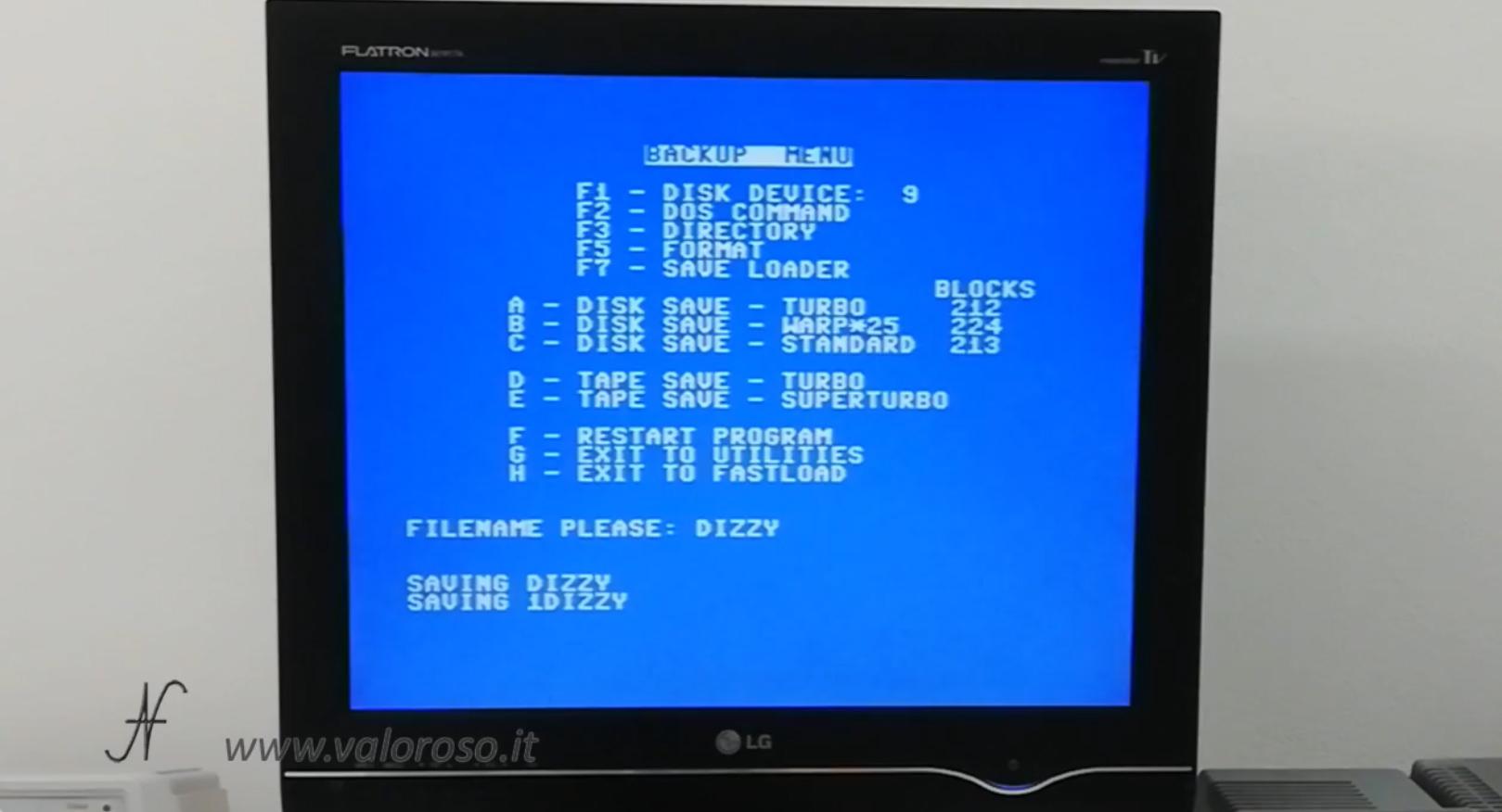 Datel Action Replay, Commodore 64, menu backup disk save SD, copia videogioco da cassetta a SD