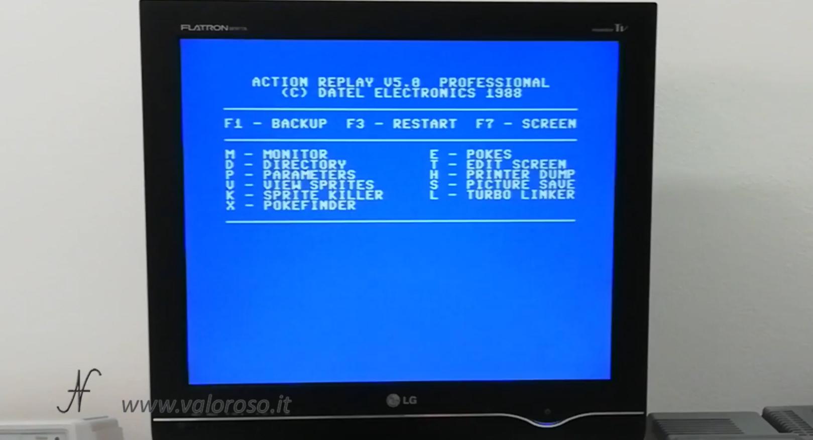 Datel Action Replay, Commodore 64, menu backup restart, copia videogioco da cassetta a floppy e SD