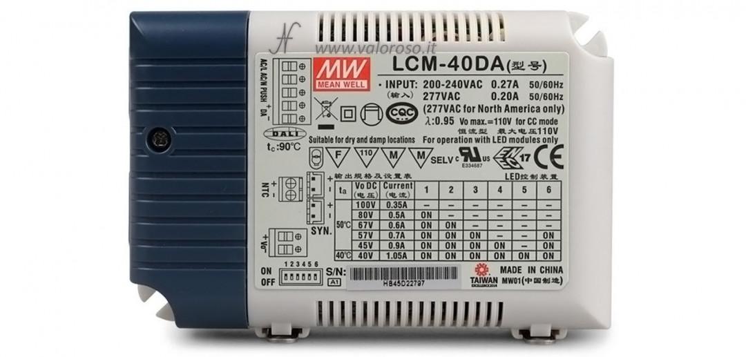 Dimmerare una lampadina a LED, alimentatore driver LED, tensione di rete 230V, ingresso segnale 0-10V, corrente selezionabile Meanwell LCM-40, LED a bassa tensione