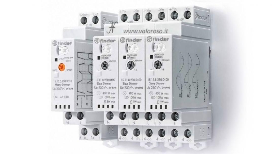 Dimmerare una lampadina a LED, dimmer FINDER 15.10 15.11, tensione di rete 230V, segnale comando ingresso 0-10V