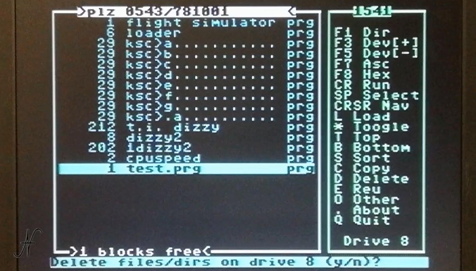 DraCopy, cancella file dal floppy disc drive 1541, D delete, Commodore 64