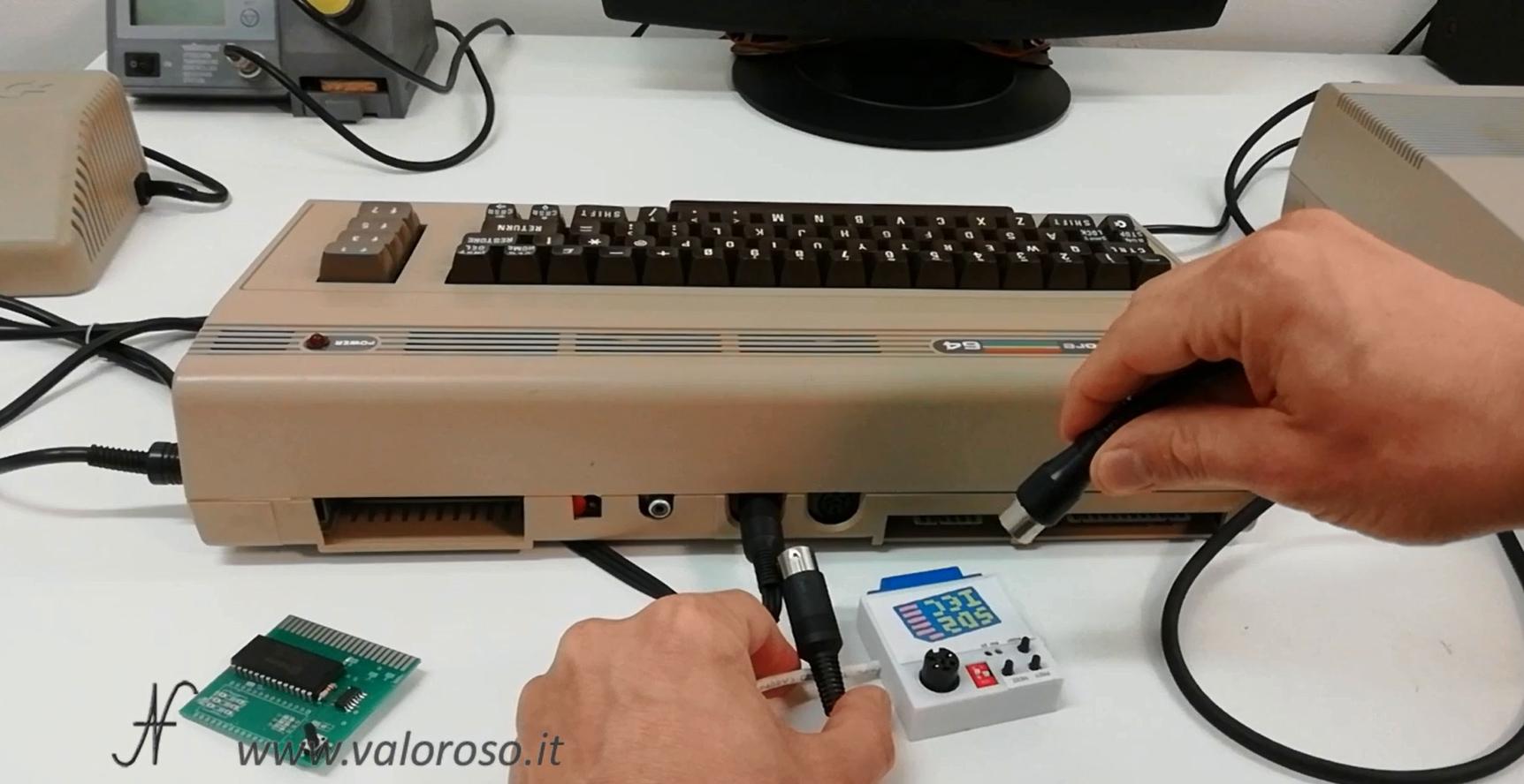 Collegamento fastload, emulatore SD2IEC address 9, floppy disc drive 1541 address 8, Commodore 64