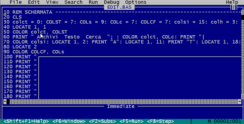 EDITOR MULTITASK, text editor, editor di testi, Amedeo Valoroso, QBasic, Microsoft QuickBASIC