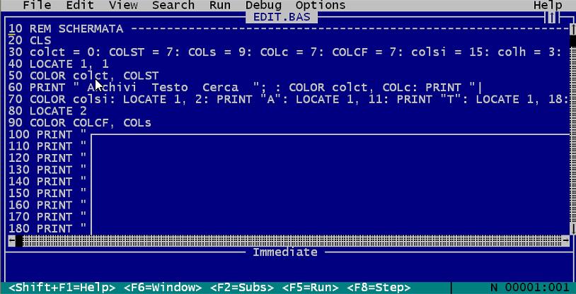 EDITOR MULTITASK, text editor, Amedeo Valoroso, QBasic, Microsoft QuickBASIC