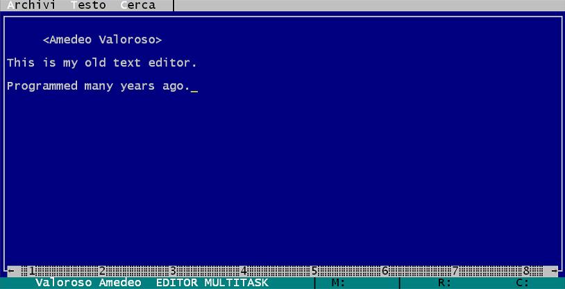 EDITOR MULTITASK, editor di testi, Amedeo Valoroso, QBasic, Microsoft QuickBASIC
