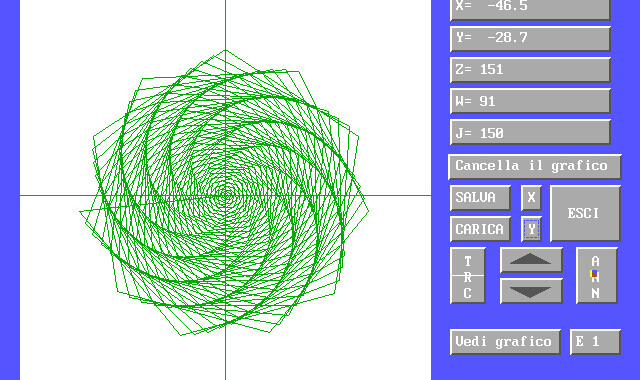 EQUATIO, Amedeo Valoroso, 2D, spiral, panel, ATN, ABS, COS, SQR, SIN, TAN, INT, LOG, RND, EXP, SGN, functions, mathematical, graph, graphing, drawing, sine, cosine, coordinates