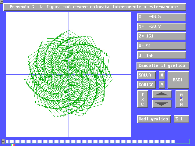 EQUATIO, math graphing software, Amedeo Valoroso, 2D, spiral, panel, ATN, ABS, COS, SQR, SIN, TAN, INT, LOG, RND, EXP, SGN, functions, mathematical, graph, graphing, drawing, sine, cosine, coordinates