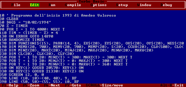 EQUATIO, software per grafici di funzioni matematiche, Amedeo Valoroso, programma, Turbo Basic, TurboBasic