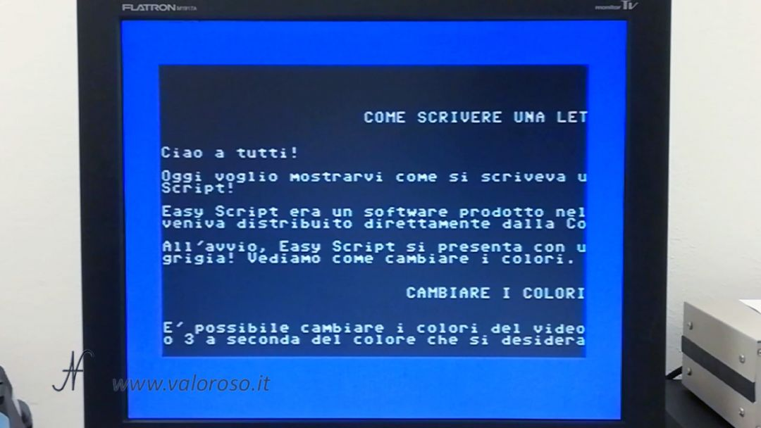 EasyScript Commodore 64, word processor, anteprima di stampa, stampante ad aghi, EasyScript, 1982, Precision Software Ltd UK, Simon Tranmer