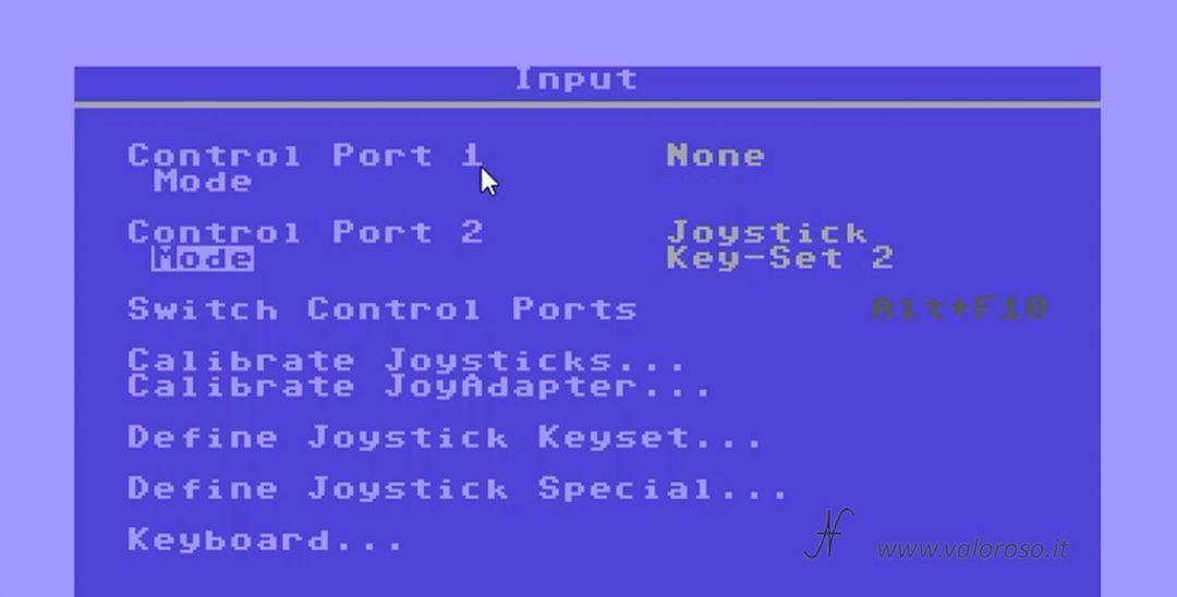 Emulatore CCS64, configurazione, setup, configurare input joystick, eseguire avviare programmi giochi utility per Commodore 64 su PC Windows 10, impostare joystick porta 2 numpad tastierino numerico. CCS64 - A Commodore 64 Emulator - By Per Håkan Sundell