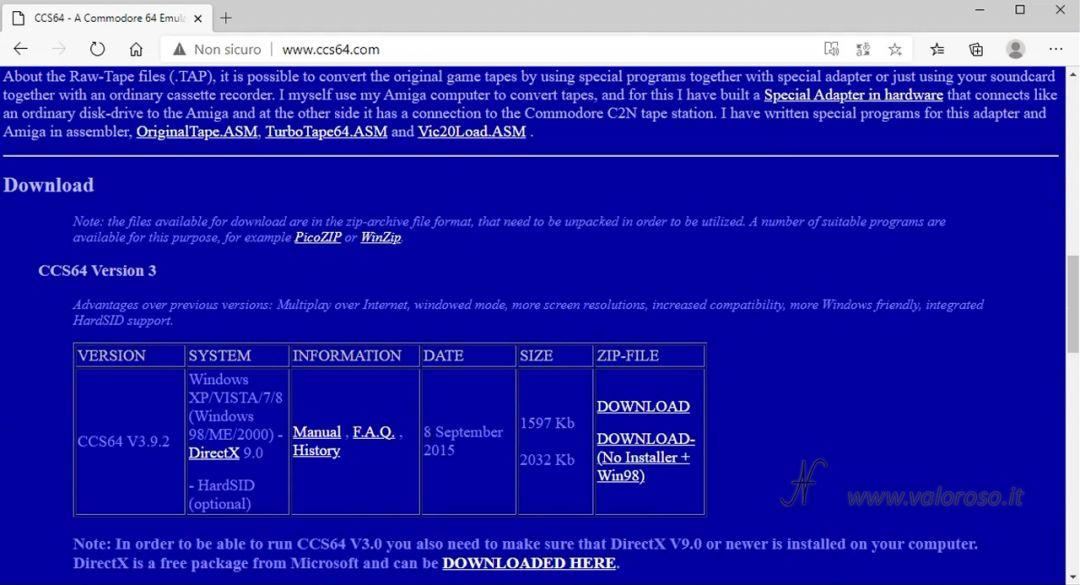 Emulatore CCS64, eseguire avviare programmi giochi utility per Commodore 64 su PC Windows 10, scaricare gratis, sito ufficiale