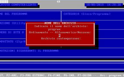 INDIRIZZ, Amedeo Valoroso, programma di archiviazione, database, GwBasic, TurboBasic