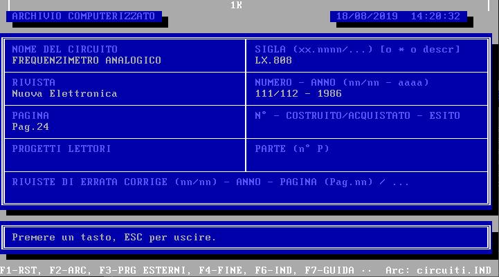 INDIRIZZ, Amedeo Valoroso, programma di archiviazione, database, GwBasic, TurboBasic, Nuova Elettronica
