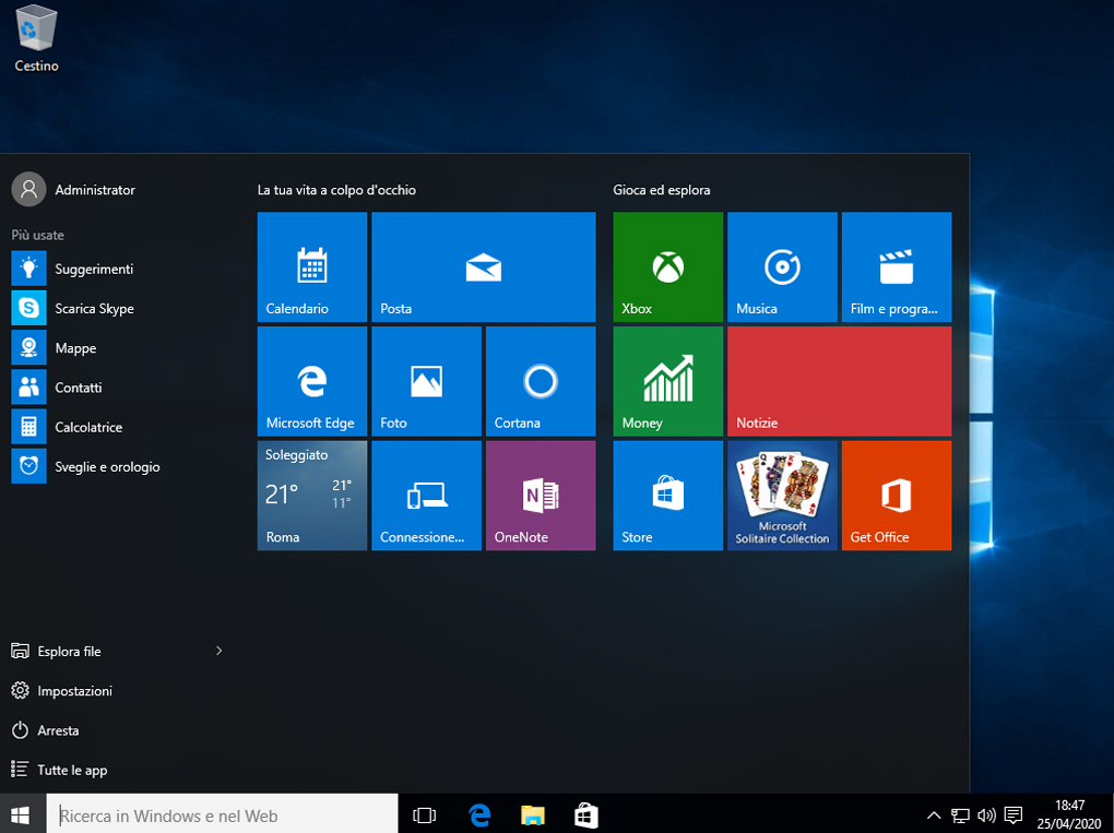 Windows 10, menu start, cortana, xbox, musica, money, notizie, get office, onenote